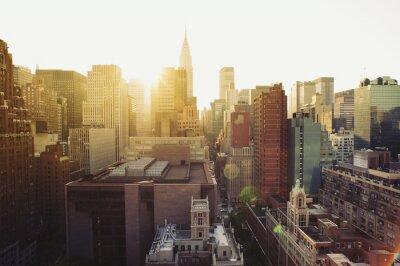 Fotomural Opinión del horizonte de la ciudad de Nueva York Manhattan en la luz del sol.
