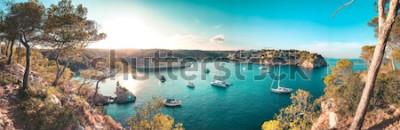 Fotomural Opinión del panorama de una bahía de la playa con agua azul de turquesa y barcos y yates de navegación en el ancla con los árboles de pino enmarcados. Preciosa romántica Cala Portals Vells, Mallorca,