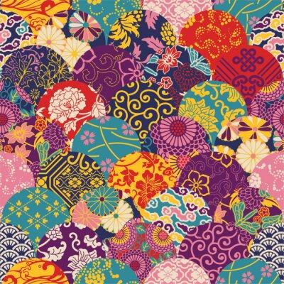 Fotomural Oriental patchwork de tela de estilo, patrón de vectores sin fisuras