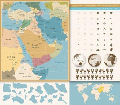 Fotomural Oriente Medio y Asia Occidental Mapa Vintage Colores