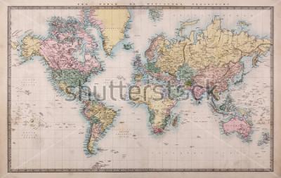Fotomural Original mapa coloreado de la mano antigua de la proyección del mundo en Mercados alrededor de 1860, los países se han dado como ese momento, es decir, Persia, Arabia, etc.