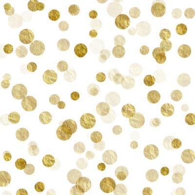 Fotomural Oro Blanco Dots Faux Foil Metálico Fondo Patrón Textura