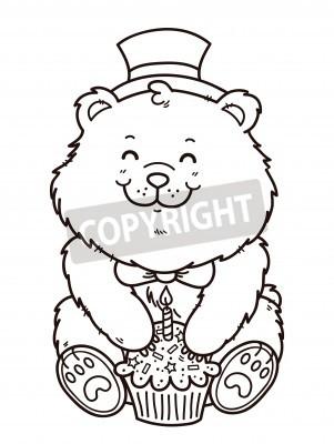 Oso feliz cumpleaños. vector sello digital del oso de dibujos ...