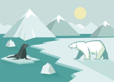 Fotomural Oso polar y sello - diseño plano