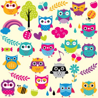 Fotomural owls and elements clip art set