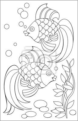 Fotomural Página Con El Dibujo Blanco Y Negro De Los Pescados Para Colorear