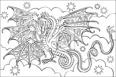 Fotomural Página Con El Dibujo Blanco Y Negro Del Dragón Para Colorear