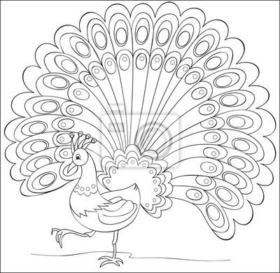 Página con la ilustración en blanco y negro del pavo real de ...