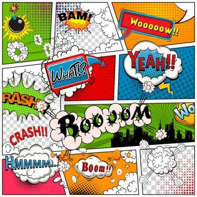 Fotomural Página de cómic dividida por líneas con burbujas de discurso, efecto de sonidos. Maqueta retro del fondo. Plantilla de los tebeos.