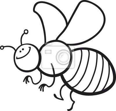 Página para colorear abeja de la historieta fotomural • fotomurales ...