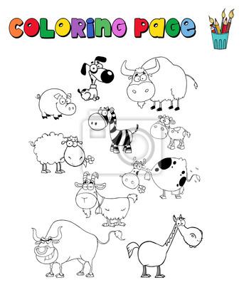 Página para colorear con animales de granja fotomural • fotomurales ...