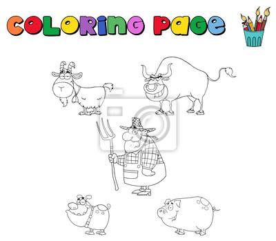 Página para colorear con animales de granja y agricultor fotomural ...