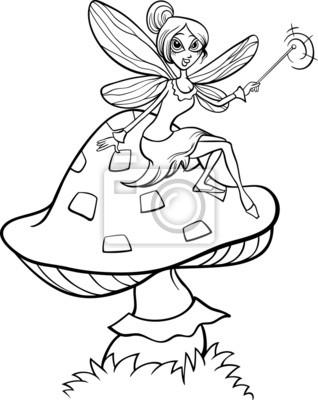 Página para colorear de dibujos animados de fantasía hada fotomural ...