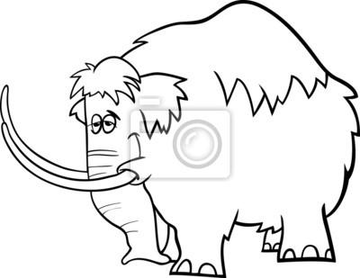 Página Para Colorear De Dibujos Animados De Mamut Fotomural
