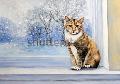 Fotomural Paintings, watercolor.Cat, window, winter, home, animal.