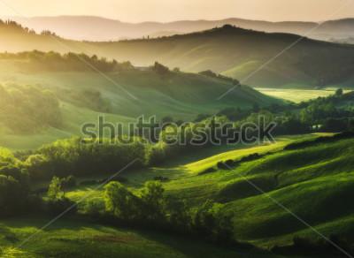 Fotomural Paisaje bellamente iluminado de la Toscana