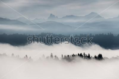 Fotomural Paisaje de montaña brumosa en la Columbia Británica, Canadá