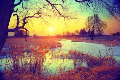 Fotomural Paisaje rural. Puesta de sol sobre el lago
