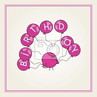 Pjaro de dibujos animados con un rosa globos de cumpleaos de