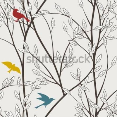 Fotomural pájaros coloridos y ramas
