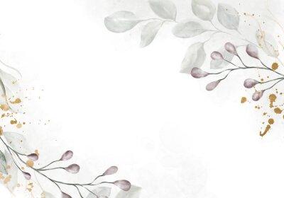 Fotomural Pale watercolor leaves on white background - vertical botanical design banner. Floral pastel watercolor, vintage style