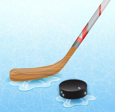 Fotomural Palo de hockey y disco de hockey. Ilustración 10 versión.