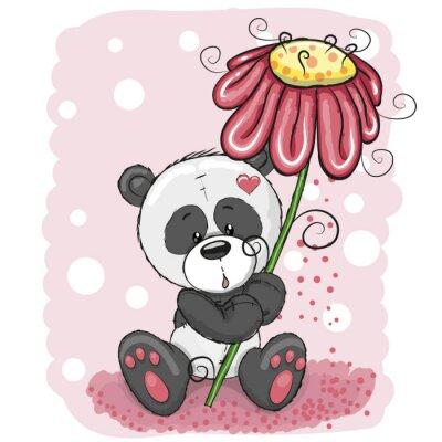 Fotomural Panda con la flor