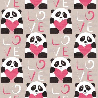 Fotomural Panda con patrón de corazón sin fisuras