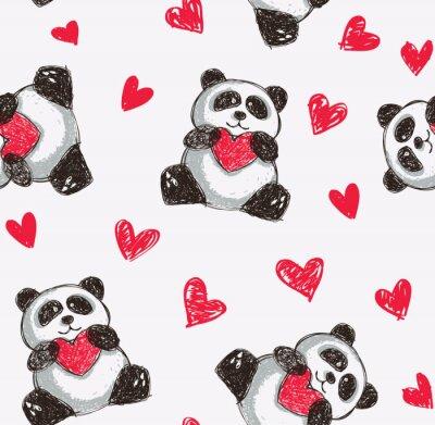 Fotomural panda corazón celebración de fondo sin fisuras