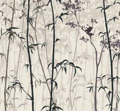 Fotomural Panda en el bosque de bambú