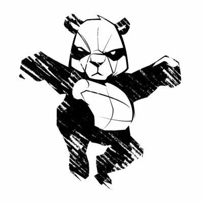 Fotomural Panda Sketch artes marciales