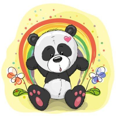 Fotomural Panda with rainbow