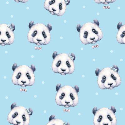 Fotomural Pandas sobre fondo azul claro. Modelo inconsútil. Dibujo de la acuarela. Ilustración de los niños. Trabajo manual