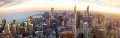Fotomural Panorama aéreo de Chicago en la puesta del sol, IL, EE.UU.