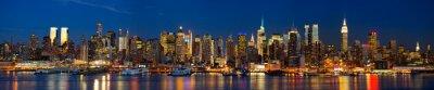 Fotomural Panorama de Manhattan horizonte en la noche, Nueva York