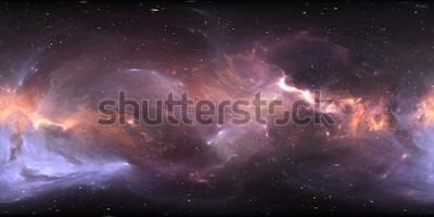 Fotomural Panorama de nebulosa espacial de 360 grados, proyección equirectangular, mapa del entorno. Panorama esférico HDRI. Fondo del espacio con nebulosa y estrellas. Ilustración 3d