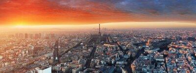 Fotomural Panorama de París al atardecer, paisaje urbano
