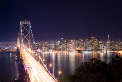 Fotomural Panorama de San Francisco Puente de la Bahía e di notte