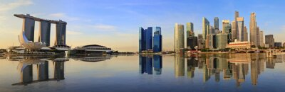 Fotomural Panorama del horizonte de Singapur por la mañana