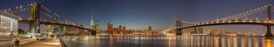 Fotomural Panoramic View Manhattan Bridge, Brooklyn Bridge and Manhattan Skyline at night