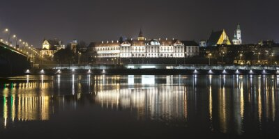 Fotomural Panoramic view of Warsaw waterfront by night.