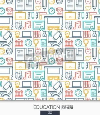 Fotomural Papel pintado de la educación. La escuela y la universidad conectaron el modelo inconsútil. Tejido de texturas con línea delgada conjunto de iconos web conjunto. Ilustración del vector. Fondo abstract
