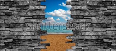 Fotomural Papel pintado del paisaje del techo de la pared de piedra 3D