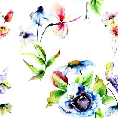 Fotomural Papel pintado inconsútil con las flores estilizadas