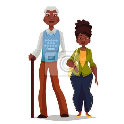 Pareja De Ancianos Mujer Y Hombre Ilustración De Dibujos Animados