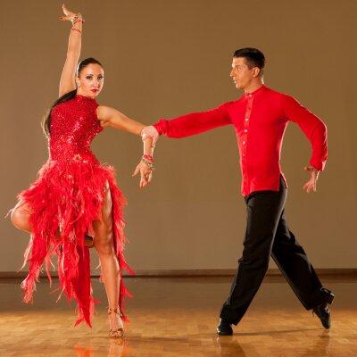 Fotomural pareja de baile latino en la acción - bailando samba salvaje