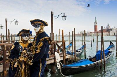 Fotomural Pareja en la máscara del carnaval en Venecia.