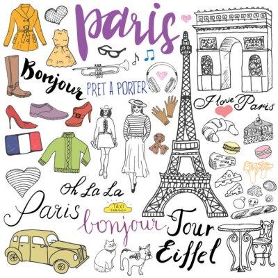 Fotomural París doodles elementos. Conjunto dibujado a mano con la torre Eiffel torre de café, arco de triumf de taxis, elementos de moda, gato y bulldog francés. Dibujo de la colección de dibujos y letras, ais