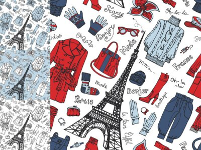 Fotomural Paris Fashion.Clothing seamless pattern set.Tricolor doodle