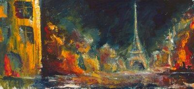 Fotomural Paris noche abstracta. Original ciudad petrolera de edad en canvas.Modern